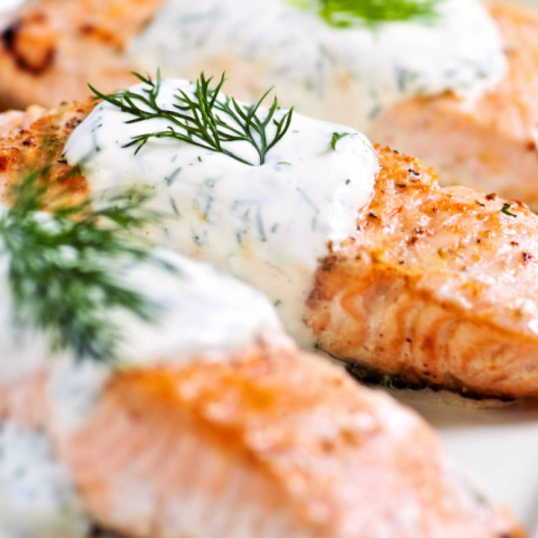 * Baked Salmon with Coconut Dill Sauce
